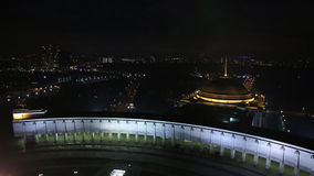 Aerial view of Illuminated Memorial complex to the Great Patriotic War and Temple of St. George at Poklonnaya Hill in. Moscow stock video footage