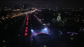 Aerial view of Illuminated Memorial complex to the Great Patriotic War and Temple of St. George at Poklonnaya Hill in. Moscow stock video