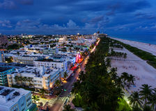 Aerial view of illuminated Ocean Drive and South beach, Miami, Florida, USA.  Royalty Free Stock Photography