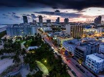Aerial view of illuminated Ocean Drive and South beach, Miami, Florida, USA.  Stock Photos