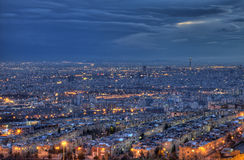 Aerial View of Illuminated Tehran Skyline at Night Stock Image