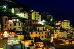 Aerial View on Illuminated Village of Riomaggiore Stock Image