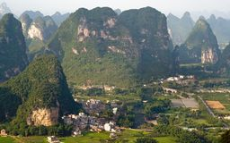 Aerial view image of Guilin village Stock Image