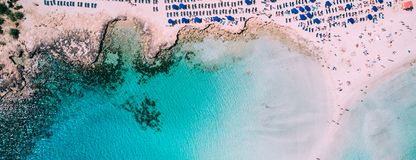 Aerial view of incredible beach with clear water, Ayia Napa, Cyprus stock photo