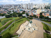 Aerial view of Independence Monument in Sao Paulo, Brazil Royalty Free Stock Images