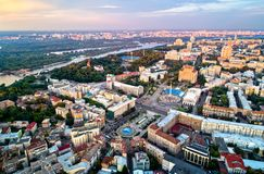 Aerial view of Independence Square - Maidan Nezalezhnosti and other landmarks in Kiev, Ukraine Royalty Free Stock Photography
