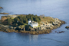 Aerial view of Indian Island Lighthouse in Rockport, Maine royalty free stock photos