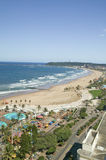 Aerial view of Indian Ocean, white sandy beaches, pool and ocean pier in the town center of Durban, South Africa Royalty Free Stock Image