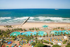 Aerial view of Indian Ocean, white sandy beaches, pool and ocean pier in the town center of Durban, South Africa Stock Photos