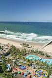 Aerial view of Indian Ocean, white sandy beaches, pool and ocean pier in the town center of Durban, South Africa Royalty Free Stock Photos