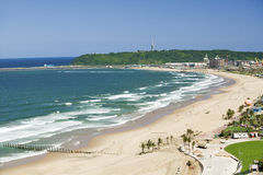 Aerial view of Indian Ocean and white sandy beaches in the town center of Durban, South Africa Royalty Free Stock Photos