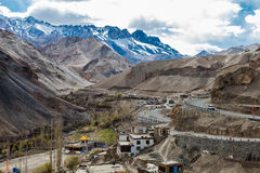 Aerial view of indian village. At Lamayuru Monastery in Ladakh Region, India stock photos