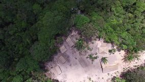 Aerial view of a Indigenous tribe in the Amazon, Brazil stock video