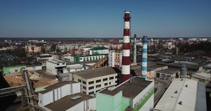 Aerial view of industrial area stock footage
