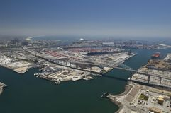 Aerial view of industrial area and docks in California Royalty Free Stock Photography