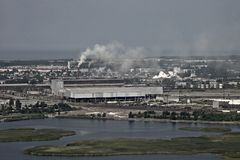 Aerial view of industrial area by the sea, city Li Stock Photography