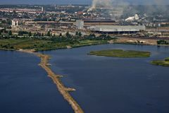 Aerial view of industrial area by the sea, city Li Royalty Free Stock Photography