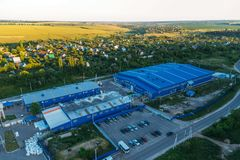 Aerial view of industrial area in summer evening royalty free stock image