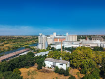 Aerial view of industrial cityscape with factory buildings, dron Royalty Free Stock Photography