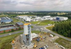 Aerial view of an industrial estate with the construction site f stock images