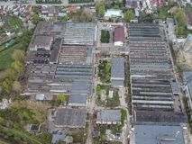Industrial facilities in east side of Ploiesti City, Romania. Aerial view of industrial facilities , part of them abandoned, in east side of Ploiesti City stock photography