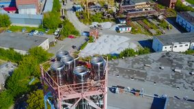 Aerial view industrial at oil refinery plant form industry zone. Stock. Aerial shot of a factory. Aerial view industrial at oil refinery plant form industry zone royalty free stock images