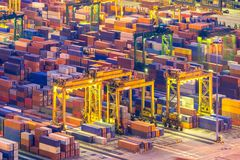Aerial view of Industrial port royalty free stock photos