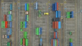 Aerial view of industrial port with containers. Aerial view of huge industrial port with containers stock video footage