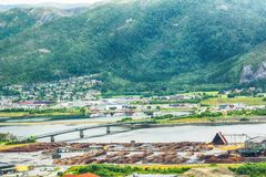 Namsos, Norway. Aerial view of the industrial  sawmill area, the river Namsen and residential district in the norwegian town Namsos Stock Photography