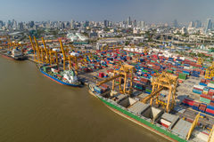 Aerial view of Industrial shipping port in Bangkok Royalty Free Stock Images