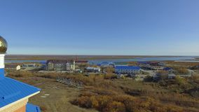 Aerial view of industrial small russian city. The Arctic Circle. 4K stock video footage