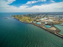 Aerial view of industrial wharfs in Williamstown, Melbourne, Australia. Aerial view of industrial wharfs in Williamstown, Melbourne, Australia Stock Photography