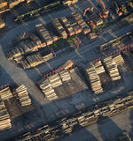 Aerial View : Industrial wood storage. (trunks Stock Image