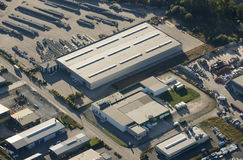 Aerial view : Industrial zone. Manufacturing plant Stock Photography