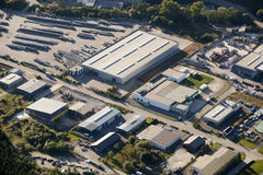 Aerial view : Industrial zone. Manufacturing plant Royalty Free Stock Photography