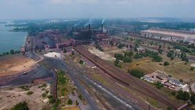Aerial view of industrial zone and technology park of mimning industry. Aerial view of industrial zone and technology park of mining industry. Plants, warehouses stock video