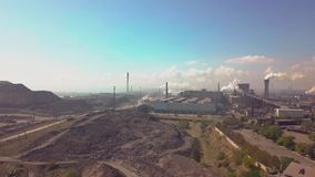 Aerial view. Industry plant. Smoke pipes stock video