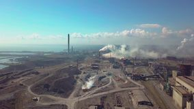 Aerial view. Industry plant. Smoke pipes stock footage