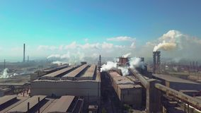 Aerial view. Industry plant. Smoke pipes stock video footage