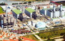 Aerial view of Industry power plant   from helicopter Royalty Free Stock Images