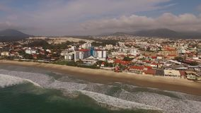 Aerial view Ingleses Beach in Florianopolis, Brazil. July, 2017. stock video