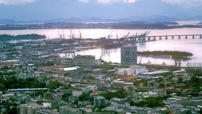 Aerial View of Inner City with Harbor Royalty Free Stock Photography