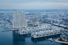 Aerial view of the Inner Harbor and Federal Hill, in Baltimore, royalty free stock photography