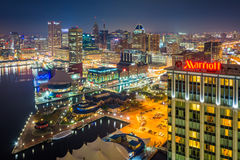 Aerial view of the Inner Harbor at night, in Baltimore, Maryland Royalty Free Stock Images