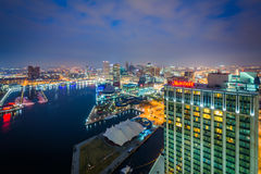 Aerial view of the Inner Harbor at night, in Baltimore, Maryland Stock Photography