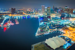 Aerial view of the Inner Harbor at night, in Baltimore, Maryland Stock Photos