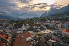 Aerial view of Innsbruck from town hall tower at sunset Stock Photography