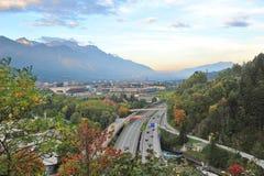 Aerial view of Inntal Autobahn in Innsbruck Stock Photos