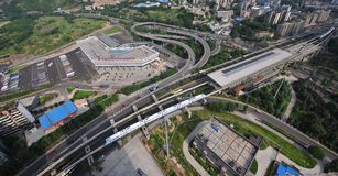 Aerial View : Integrated Transport Hub. Integrated Transport Hub consists of Subway, Long-run bus, Private car so that passengers can achieve the transfer Royalty Free Stock Image