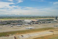 Aerial view of the Interior view of the Taiwan Taoyuan Internati. Taoyuan, JUN 6: Aerial view of the Interior view of the Taiwan Taoyuan International Airport on Royalty Free Stock Image